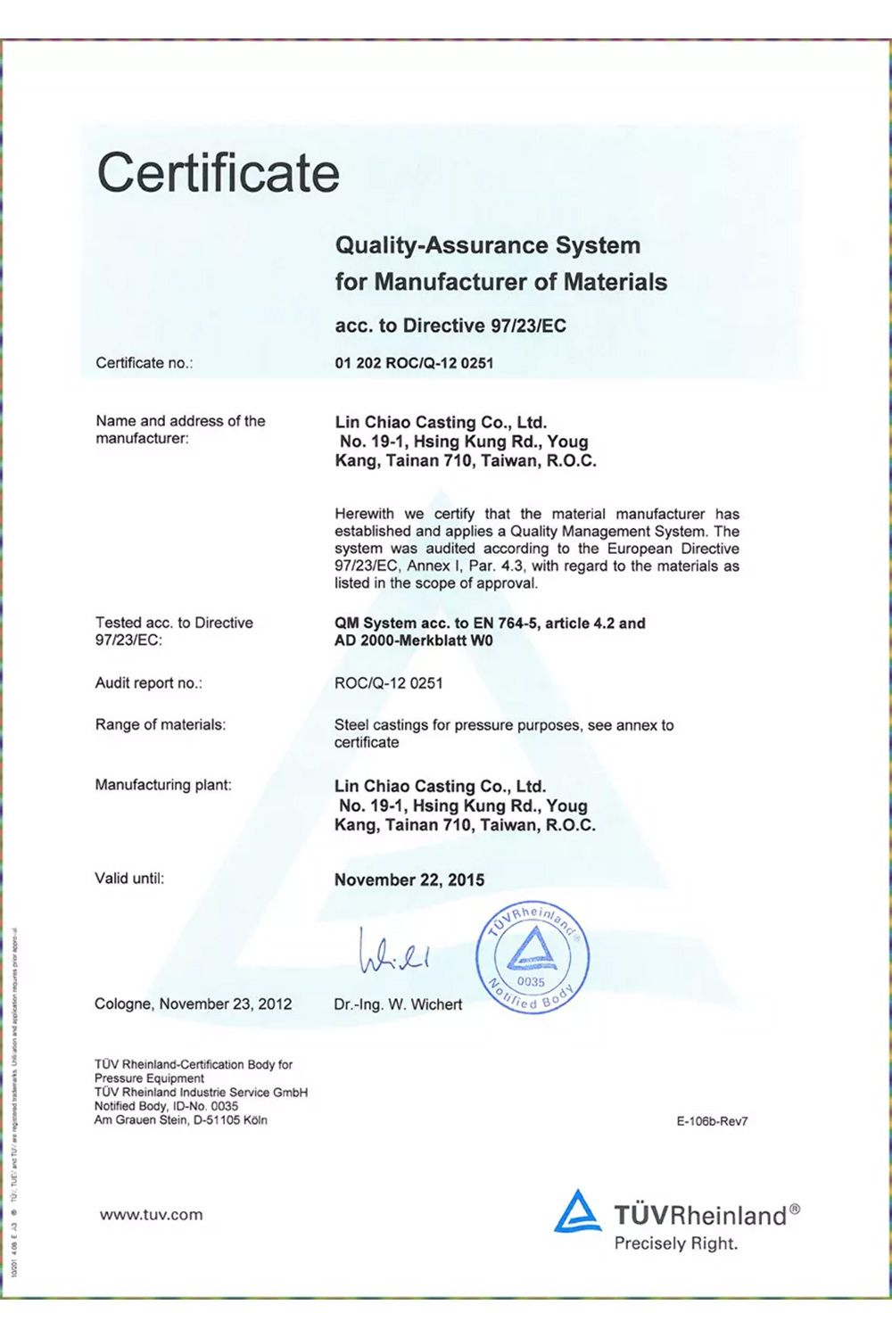 Ped 97 23 ec material manufacturer ad2000 w0 inspection for Certificate of manufacture template